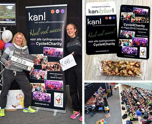 kan! levert banner, cheque en mooie verrassing aan groep deelnemers spinningevent Cycle4Charity
